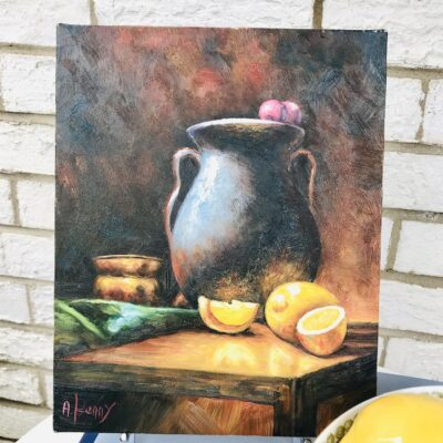 Small still life painting with lemons and amphora