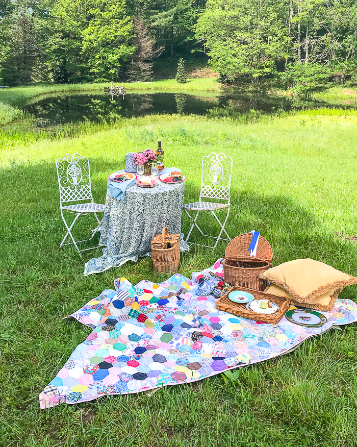 picnic on the pond in the Blue Ridge Mountains