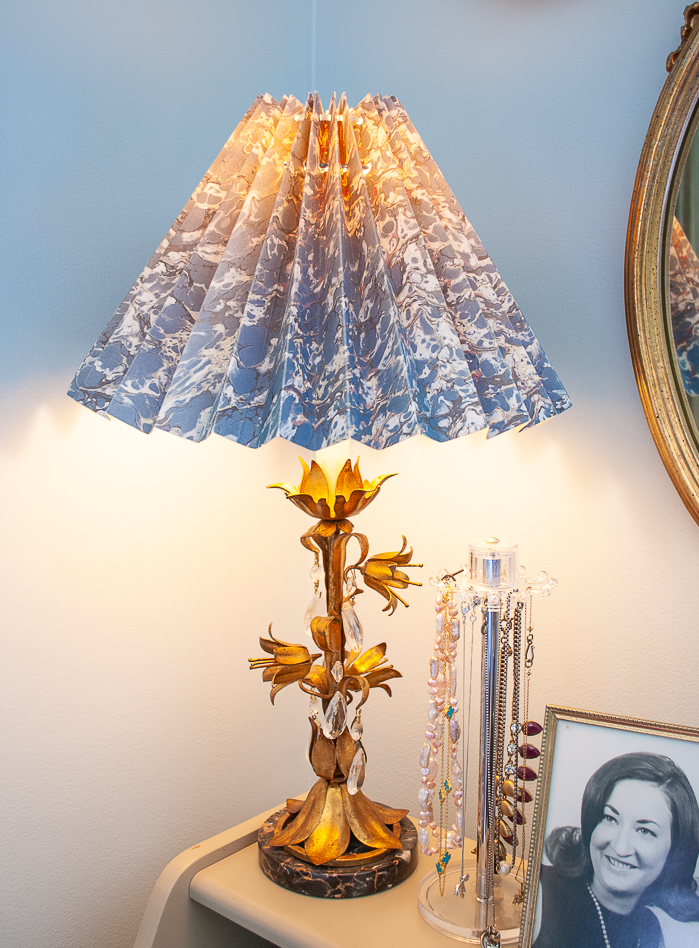 Hollywood Regency style Italian tole floral lamp with marbled paper shade in blue