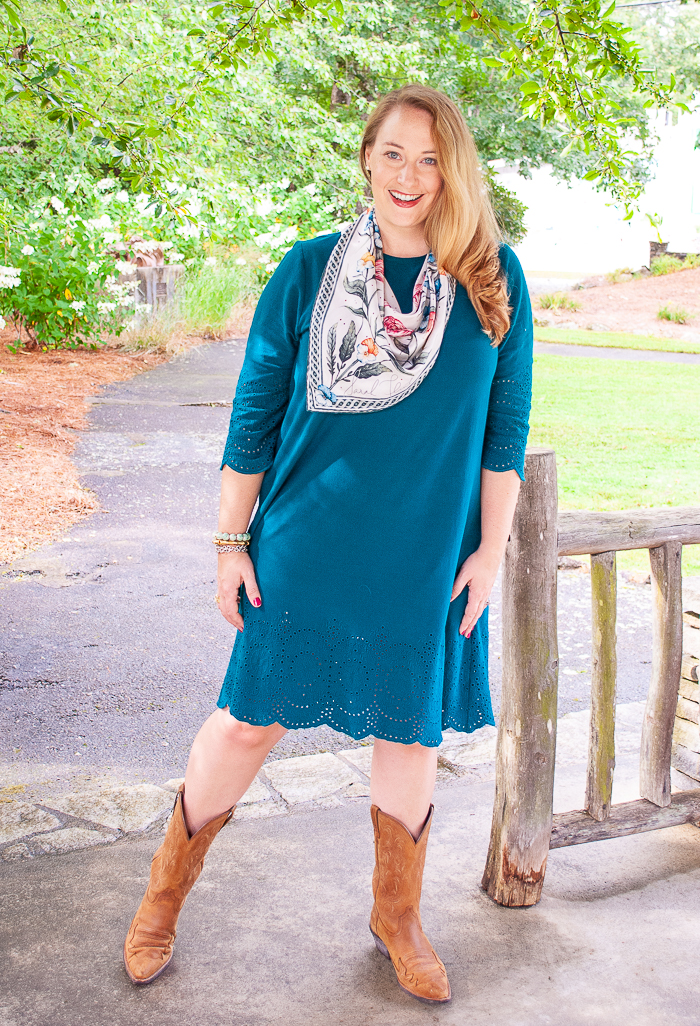 Katherine in teal dress, cowboy boots, and blooming petal silk scarf from Sarah Flint