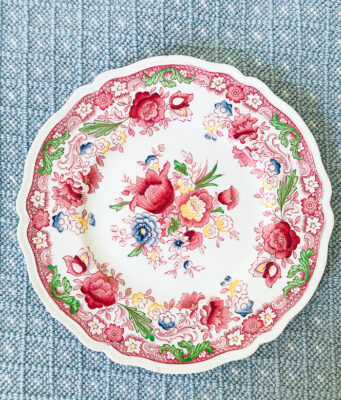 floral plate in Dorchester pattern from Johnson Bros.