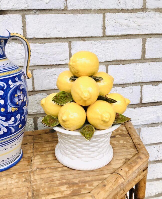 Ceramic lemon topiary on white basket weave pot