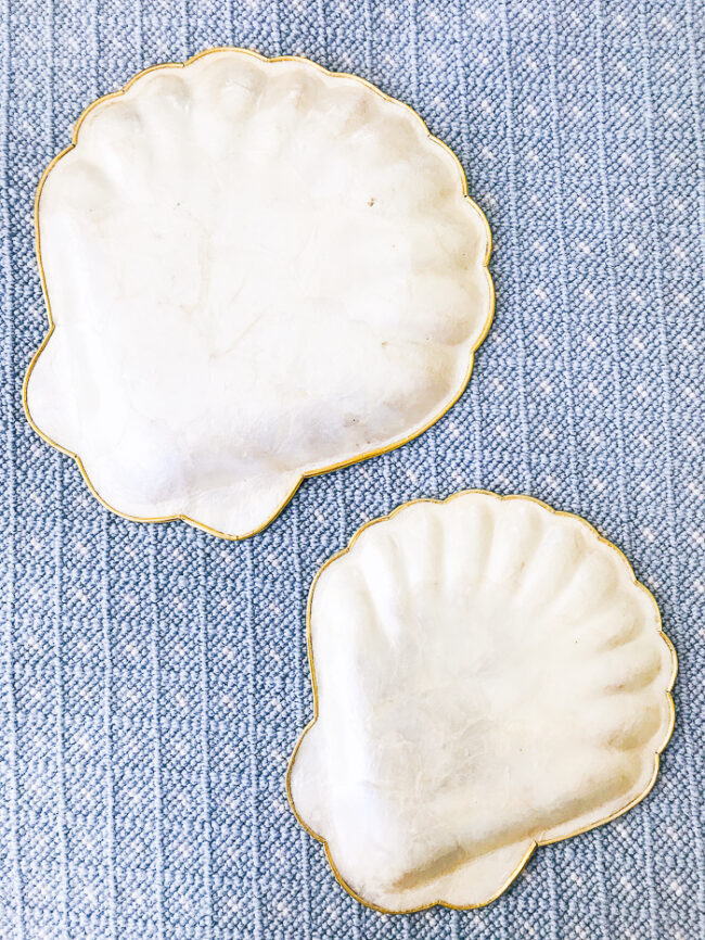 back view of capiz shell plates