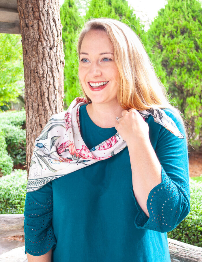 3 Ways to style a silk scarf. Here Katherine shows off the asymmetrical wrap style