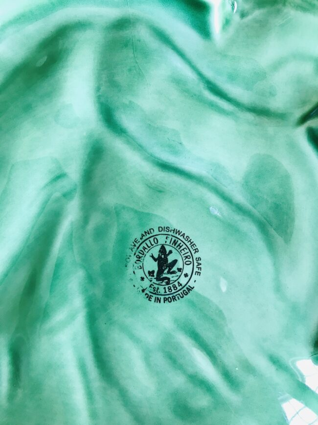 Mark on bottom of Large green cabbage ware bowl from Bordallo Pinheiro