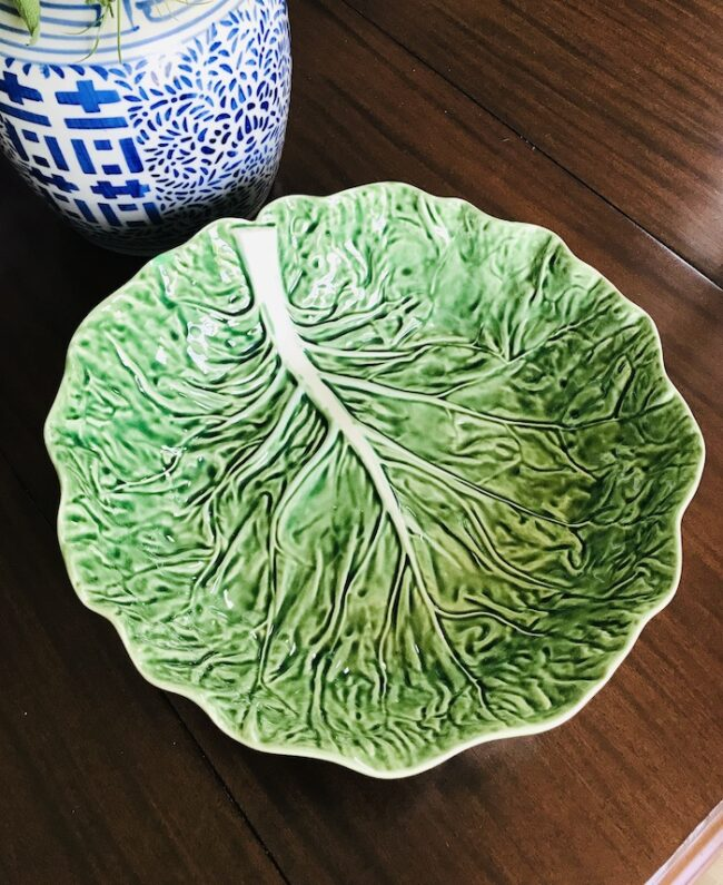 Large green cabbage ware bowl from Bordallo Pinheiro