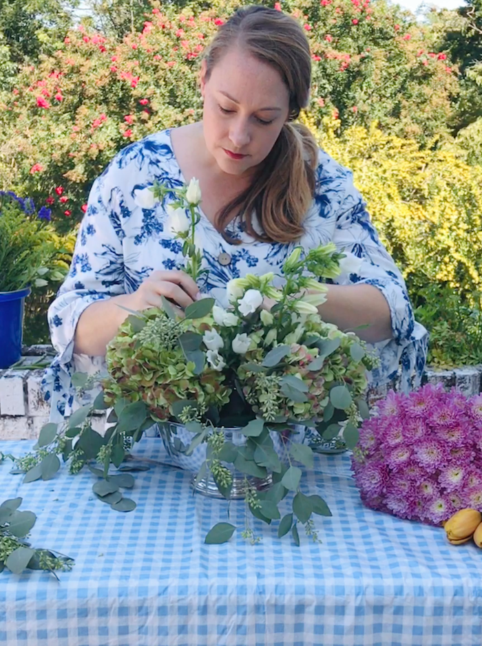 Katherine uses canterbury bells to set the height of the arrangement