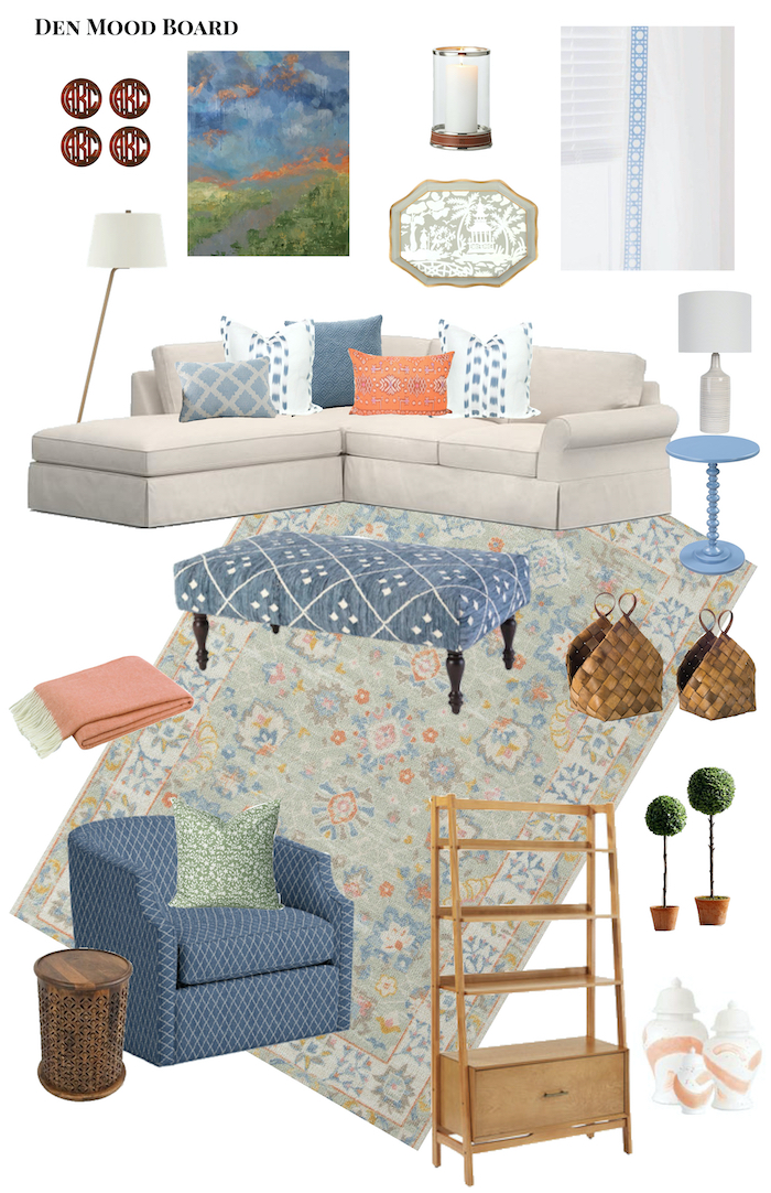 Den mood board with blues, taupes, and a pop of coral