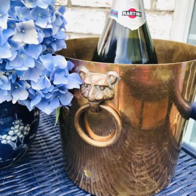 Copper ice bucket with tiger head ring handles