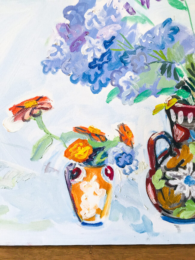 Detail of small vase on Floral painting in blues by Nancy Thompson Mills