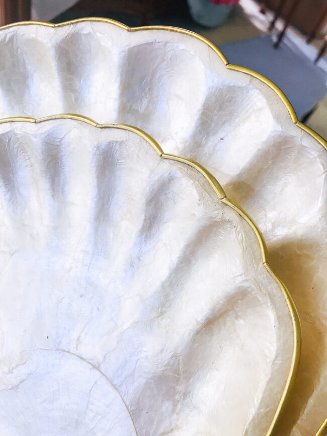 detail view of capiz shell plates