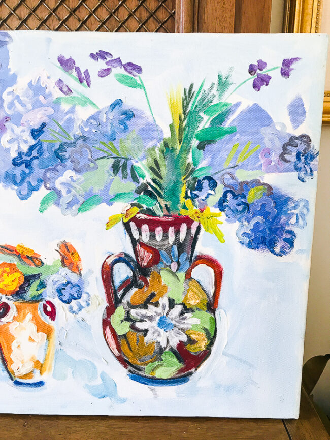 Detail of large vase on Floral painting in blues by Nancy Thompson Mills