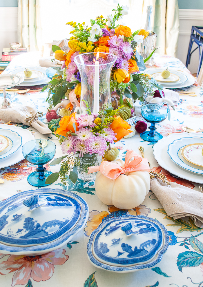 Fall table with pastel hues and pretty chintz for an elegant but playful look !