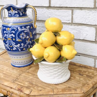 Ceramic lemon topiary on white basket weave pot