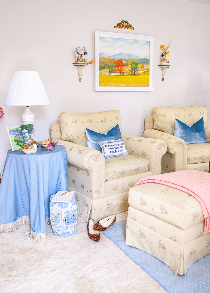 Katherine's formal living room in blues and greens with a touch of pink decorated for autumn