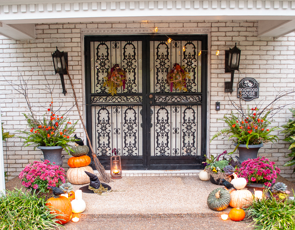 Witchy Halloween front door part of my autumn home tour