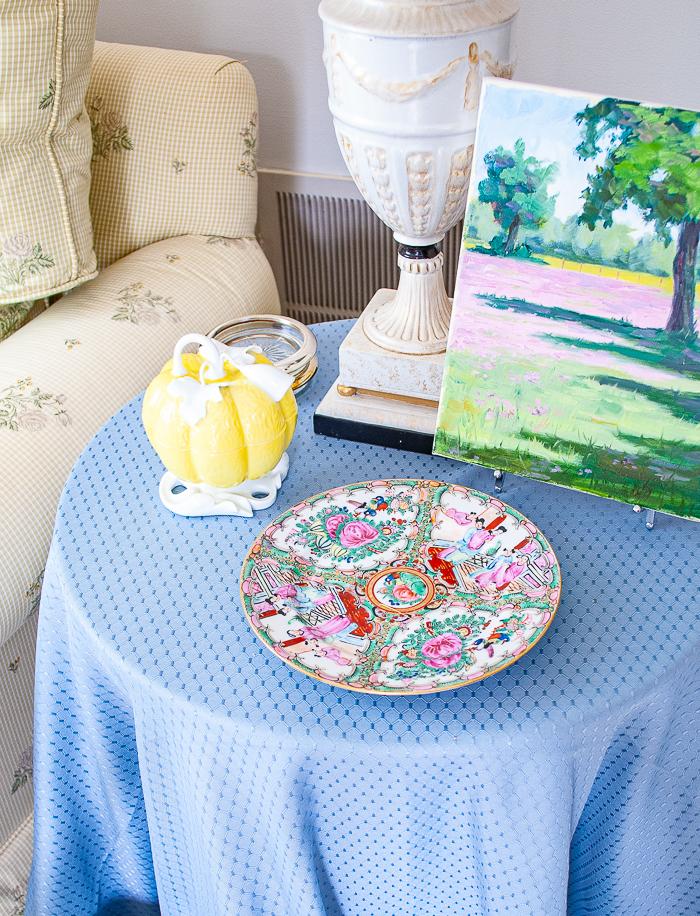 Rose medallion plate on side table