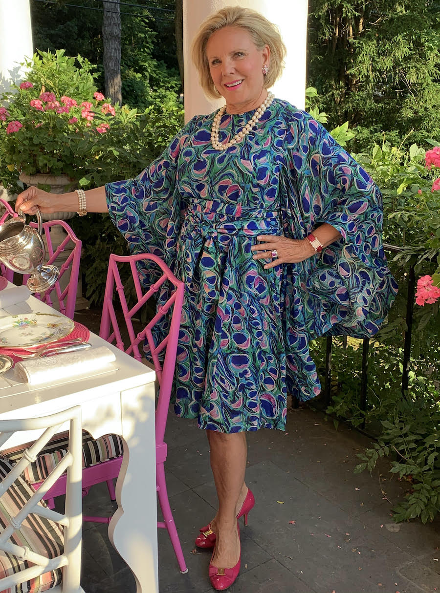 Holly Holden in fabulous dress sets the table. Read our interview with her on Pender & Peony