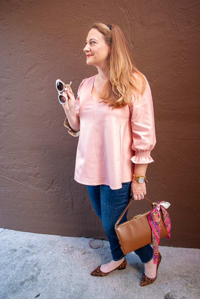 Katherine in pink Tuckernuck Easton blouse and leopard print flats for fall outfit look
