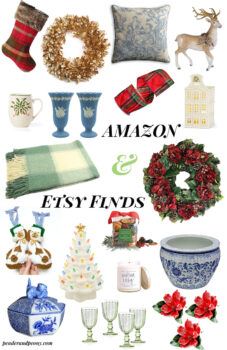 Christmas decor Amazon & Etsy finds collage of holiday decor, tableware, ornaments, wreaths, and decorations