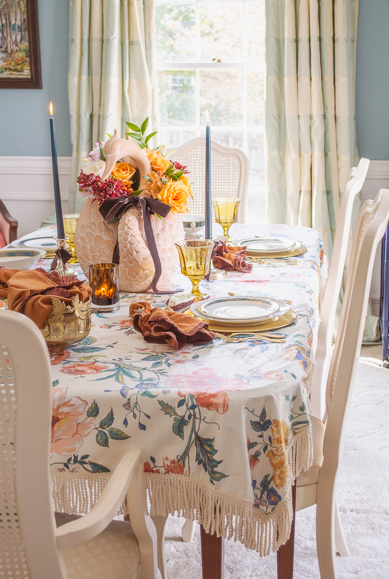 Thanksgiving tablescape with swan planter centerpiece