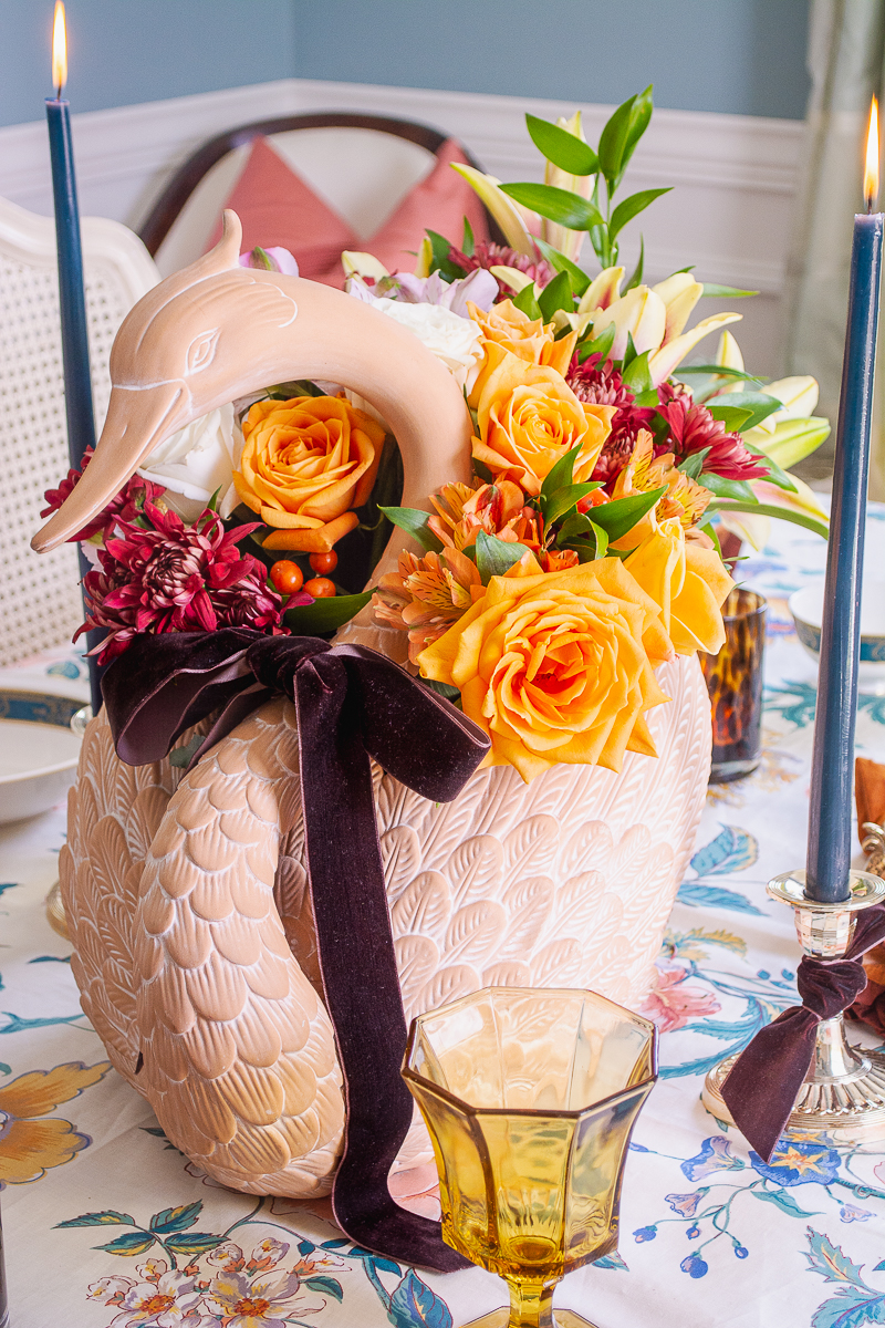 angle view of swan centerpiece