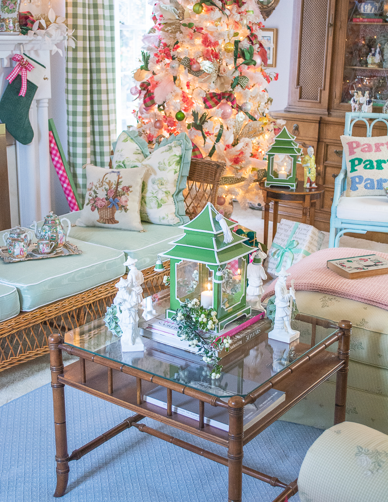 a green pagoda lantern decorates the coffee table in my very Chinoiserie Christmas living room