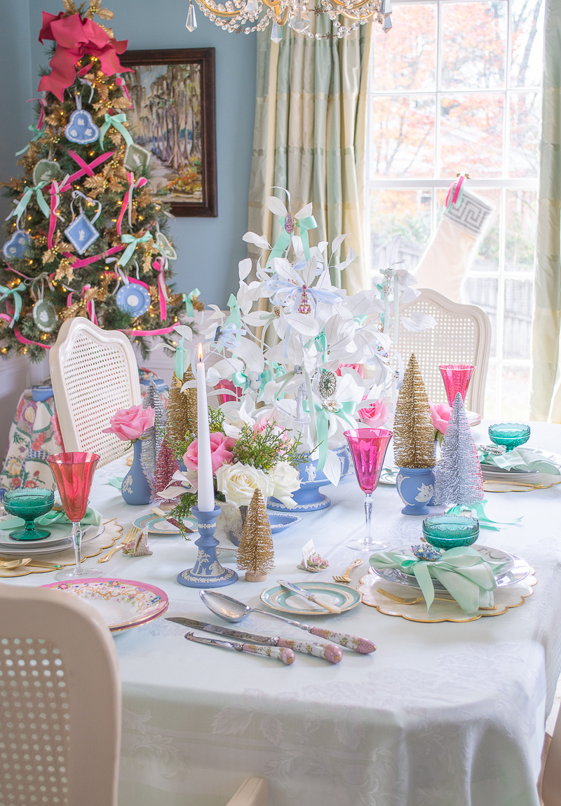 Jasperware and vintage jewelry tablescape for Christmas