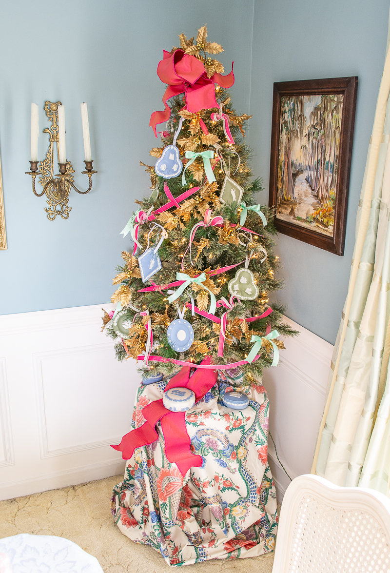 Tabletop Christmas tree with Wedgwood Jasperware ornaments, chintz skirt, and pink bow