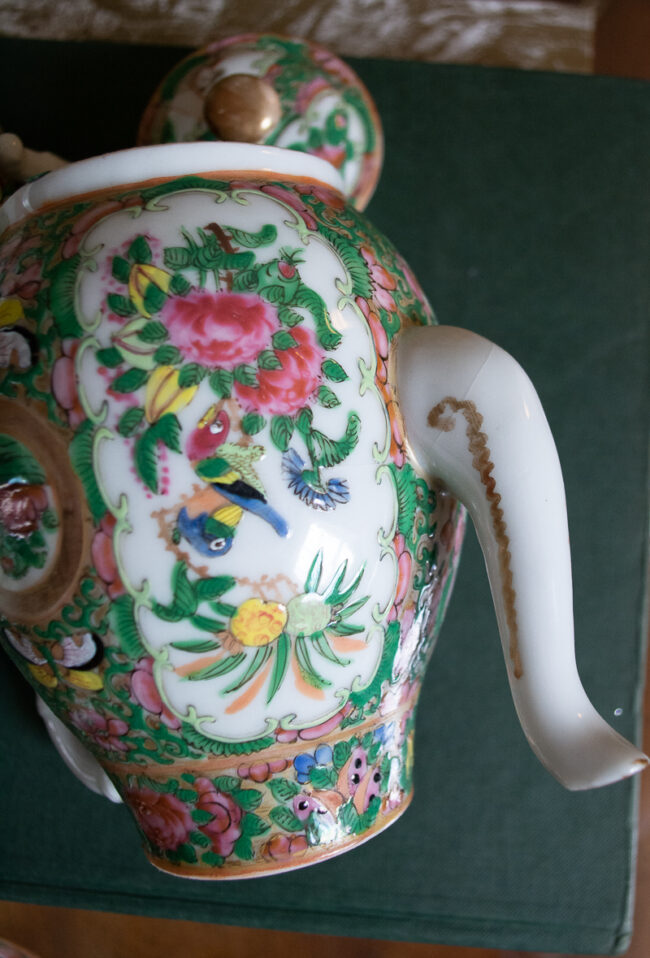 Detail of hairline on teapot spout