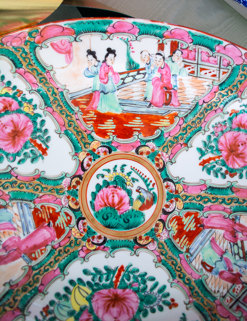 Detail of central panels on Rose Medallion platter