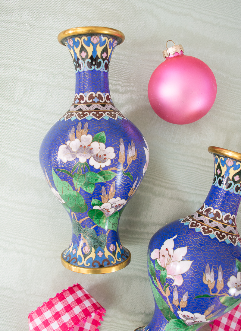 Detail view of blue floral cloisonné vase - a lovely gift for the grandmillennial