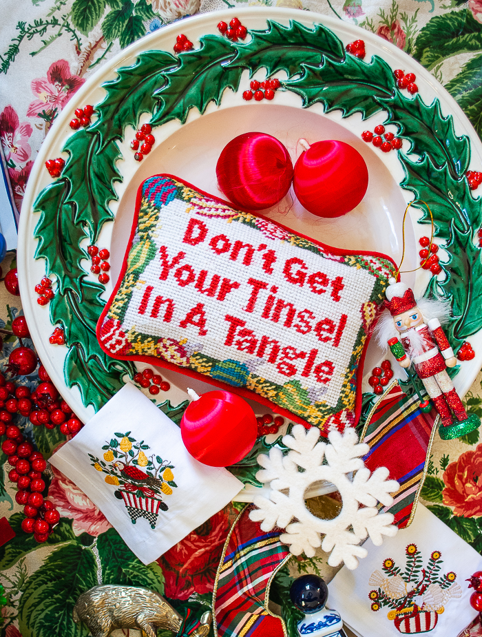 """Grandmillennial Christmas vibes with this sassy needlepoint pillow """"Don't Get Your Tinsel In a Tangle"""""""