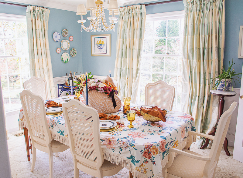 Grandmillennial style dining room at Katherine's Dogwood House setup for an intimate and chic Thanksgiving with swan centerpiece and Royal Doulton china
