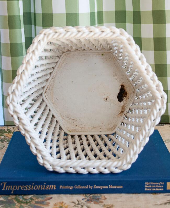 Interior of Italian ceramic planter - twisted rope design