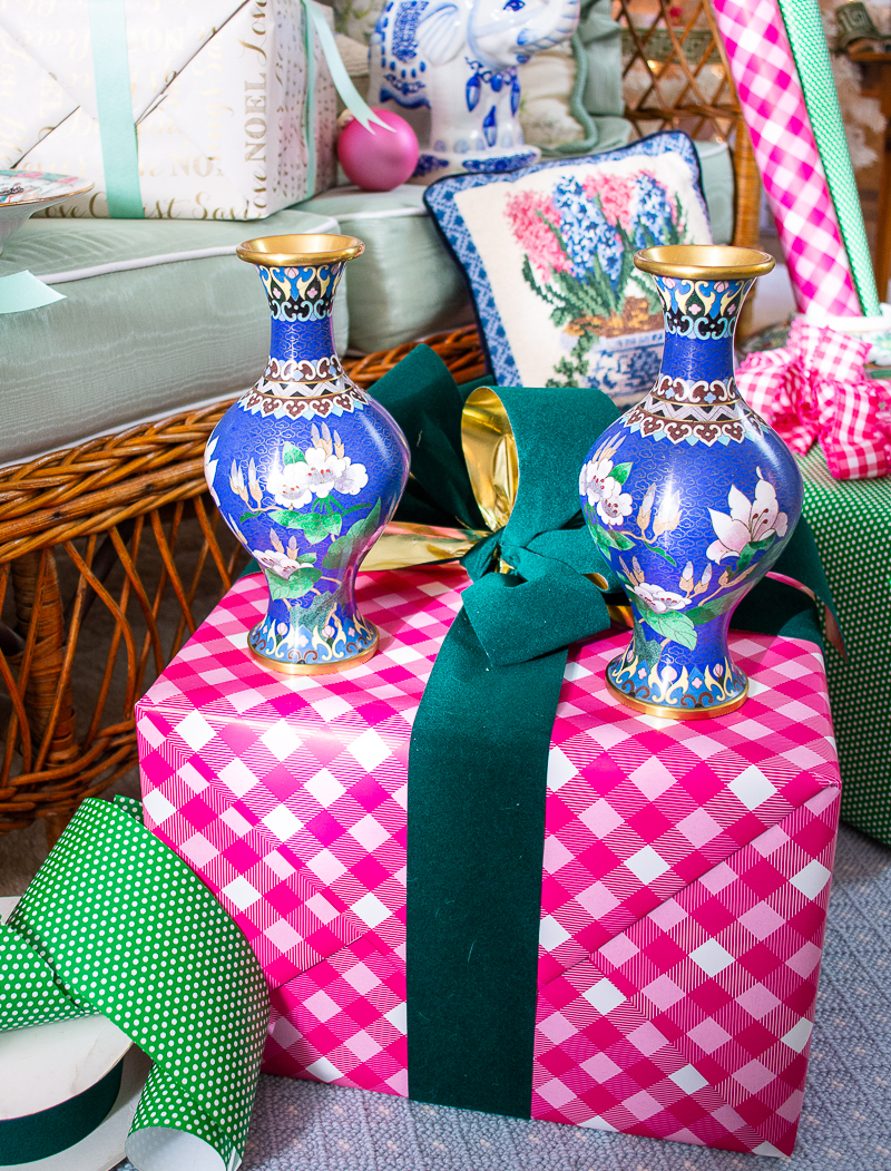 Luxe gifts for the grandmillennial include a fine pair of cloisonné vases in bright colors