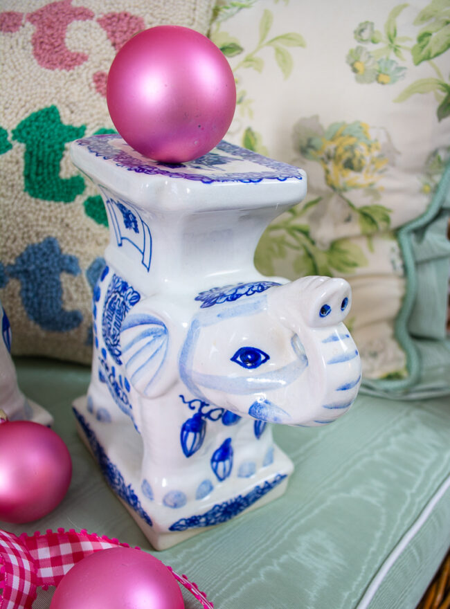 Face detail of blue and white ceramic elephant stands