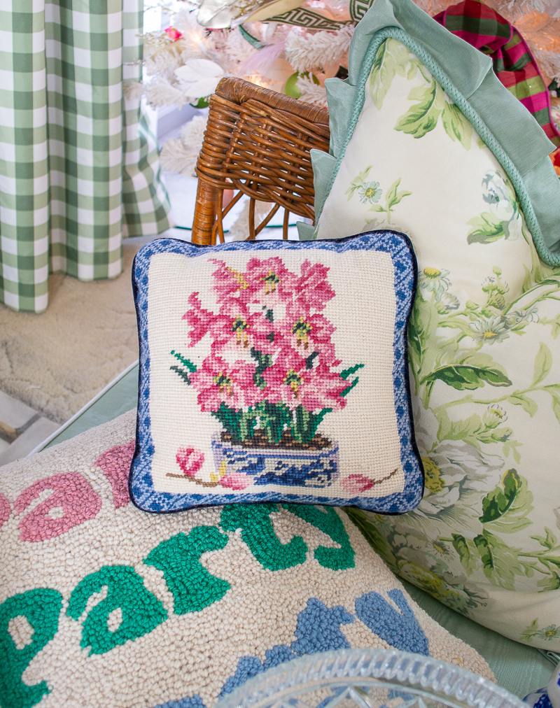 Hyacinth needlepoint pillow