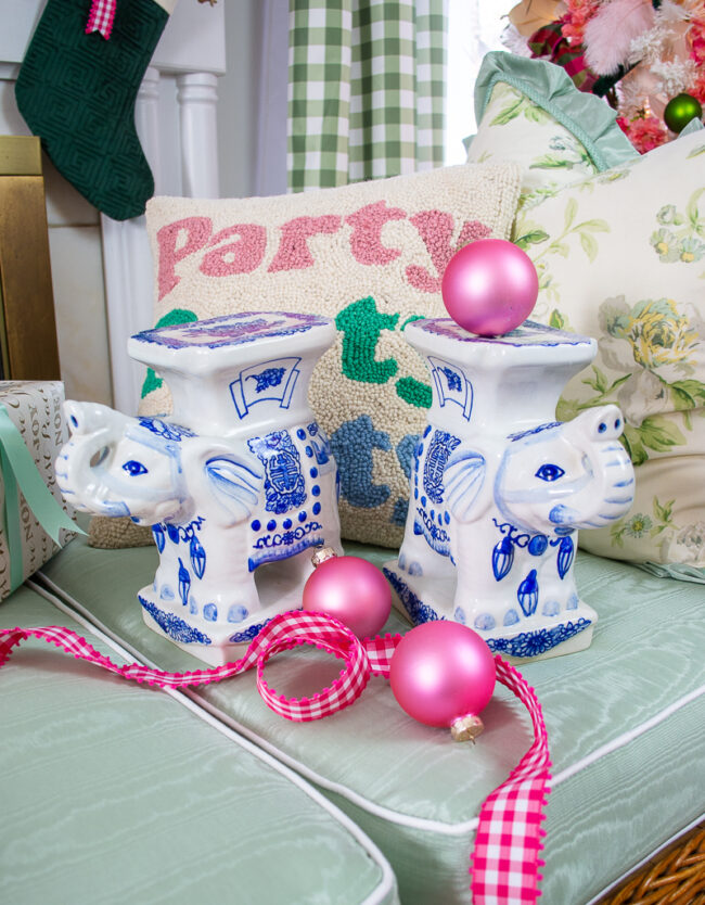Gift a pair of blue and white elephant stands to your favorite grandmillennial gal who loves decorating