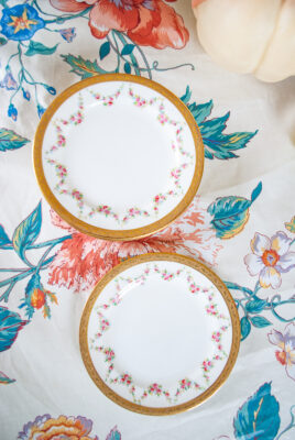 Redfern and Drake rose garland bread and butter plates, set of six