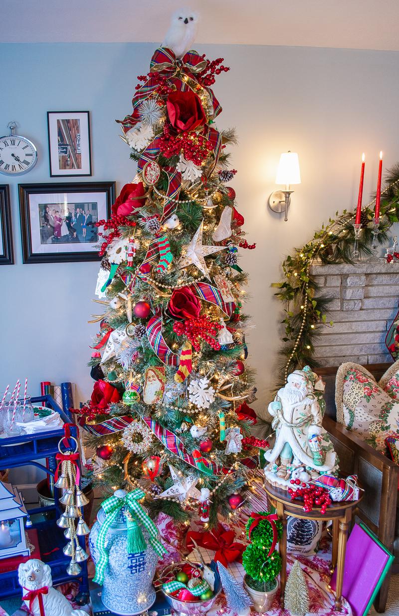 Tartan meet Chinoiserie Traditional Christmas look on my Virginia pine tree