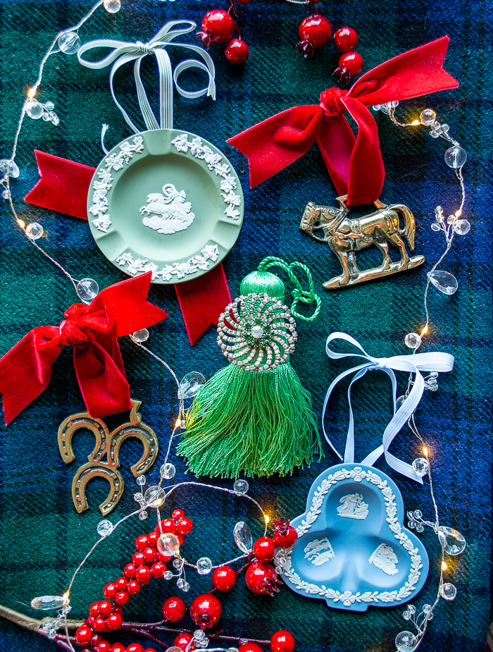 3 antiques remade into unique Christmas ornaments: horse brasses, Jasperware trinket dishes, and vintage brooches