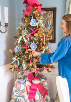 Katherine's Wedgwood Jasperware tabletop Christmas tree in dining room