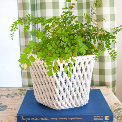 Italian ceramic planter - twisted rope design