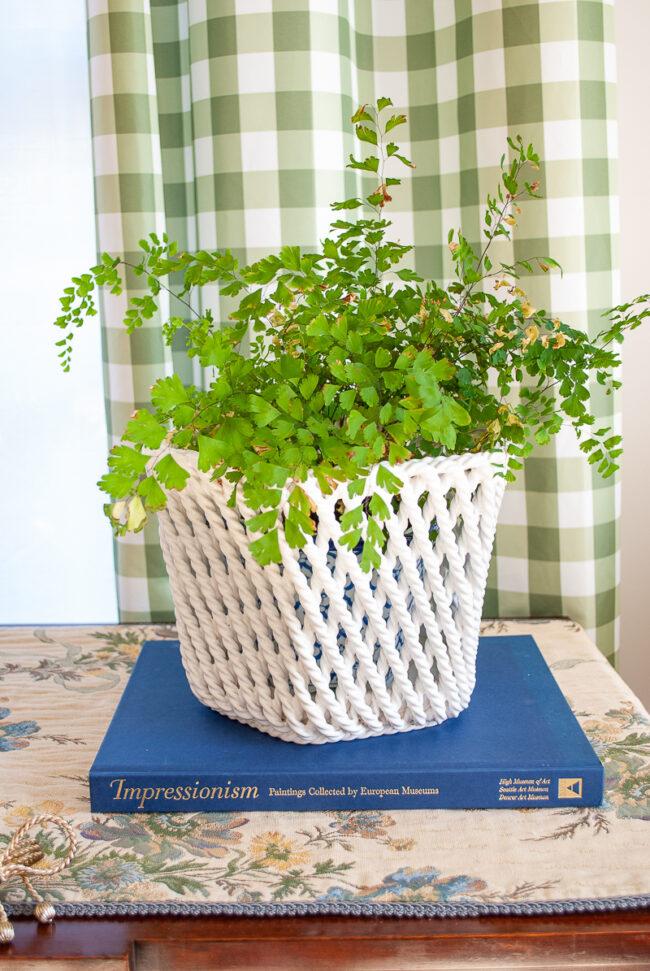 Italian ceramic planter - twisted rope design