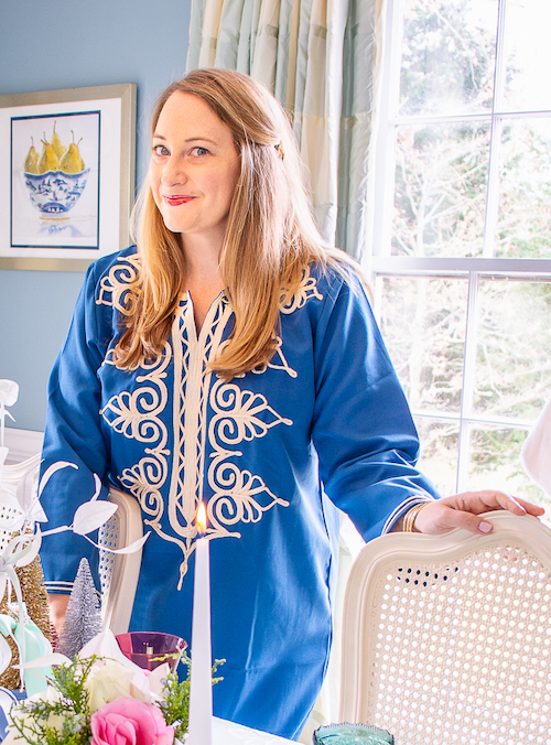 Katherine in blue caftan in dining room