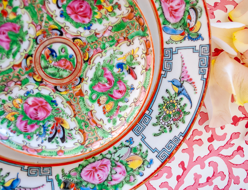 Comparison of Rose Canton plates from different periods- early 20th century versus mid