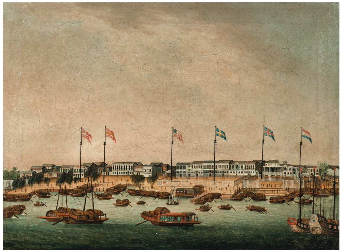 Painting depicting waterfront of Canton with trading ships and factories