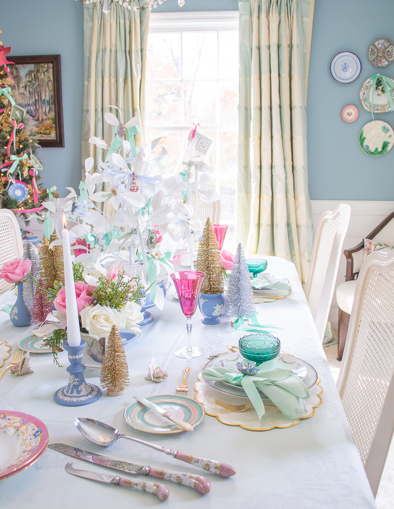 Dreamy pastel Christmas table in Jasperware and jewels created in collaboration with Vintage Meet Modern