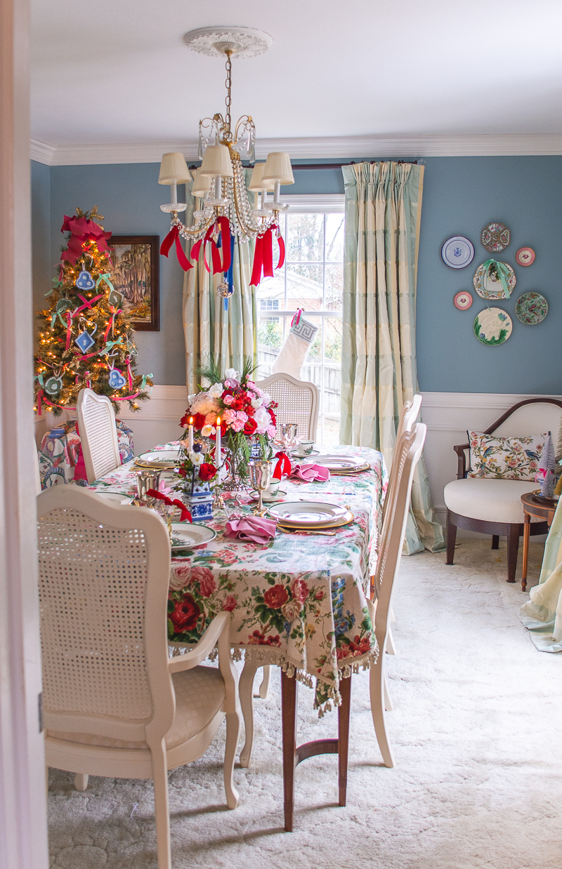 Katherine's aqua dining room with table set for Christmas - grandmillennial style